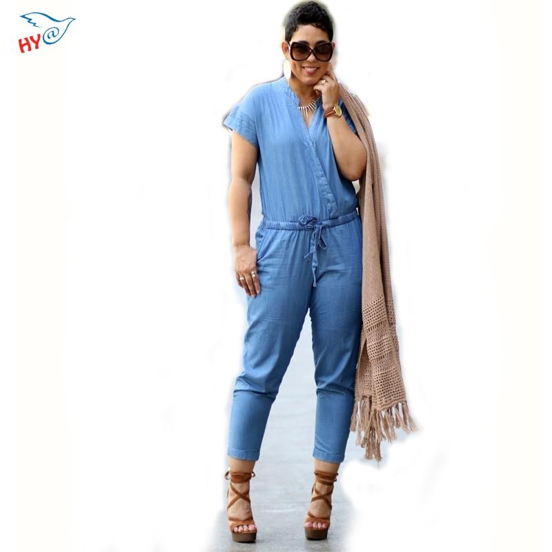 Rompers Women Jumpsuit 2016 Short Sleeve Ankle-Length Pants Bodysuit Sexy Blue Jean Romper Plus Size Elegant Jumpsuits For Women