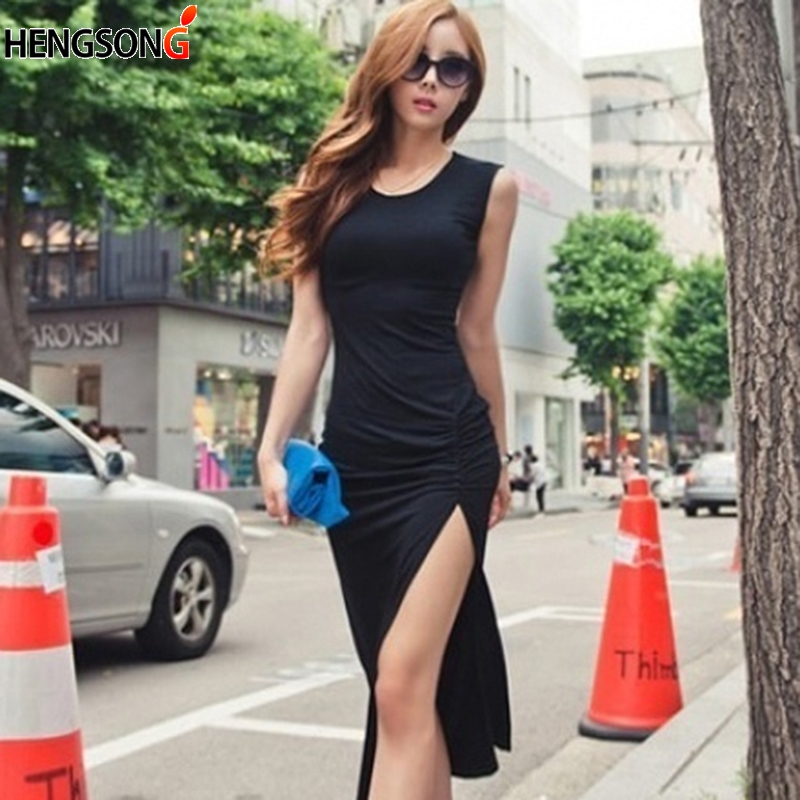 Women Summer Dress for Women Fashion Casual Maxi Dress Slim Elastic Sleeveless High Slit Sexy Long Dress Vestidos