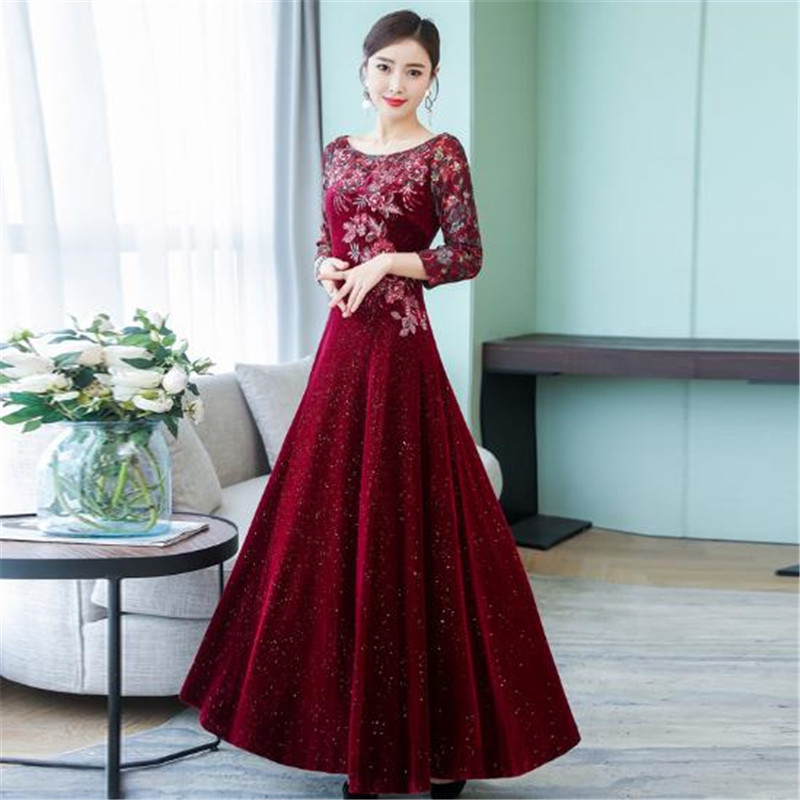 2019 dentelle brodée or velours robe femme nouvelle grande taille slim longue grande balançoire robe femmes à manches longues automne bas robes - 6