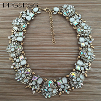 2015 New Colour ZA Collares White Rhinestone Shine AB Crystal Statement Necklace Luxury Chokers Necklaces Pendants