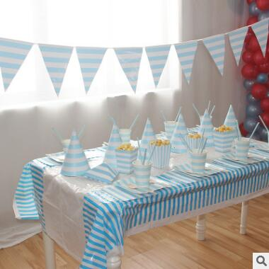 2017 New Blue Theme Disposable Table Sets With Stripped Pattern Paper Cups And Board Children Birthday Party Decor Tablewares