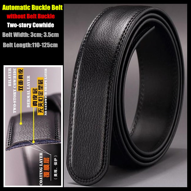 Special Offer Black 3cm & 3.5cm Width Men Genuine Leather   Belts  ,Two-story Cowhide Automatic Buckle Waistband,without   Belt   Buckle