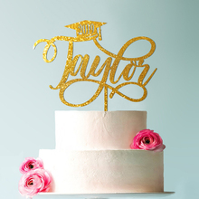 Gold Graduation cake topper, grad graduate decoration,  congrats prom topper