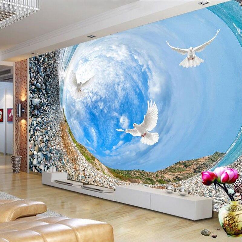 Custom 3D Mural Wallpaper 3D Landscape Blue Sky White Clouds Living Room TV Backdrop Bedroom 3D Photo Wallpaper Roll Home Decor  free shipping england wind red white blue fashion backdrop tv backdrop bedroom living room mural wallpaper