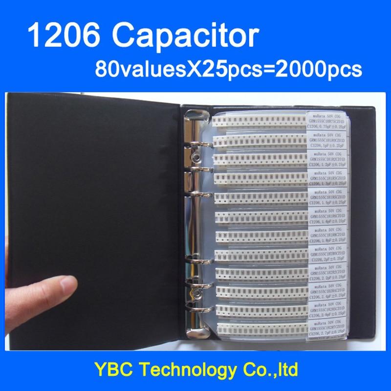 Бесплатная доставка, 1206 SMD конденсатор, книга для образцов 80 valuesx25 шт. = 2000 шт. 0,5 пФ ~ мкФ набор различных конденсаторов в упаковке