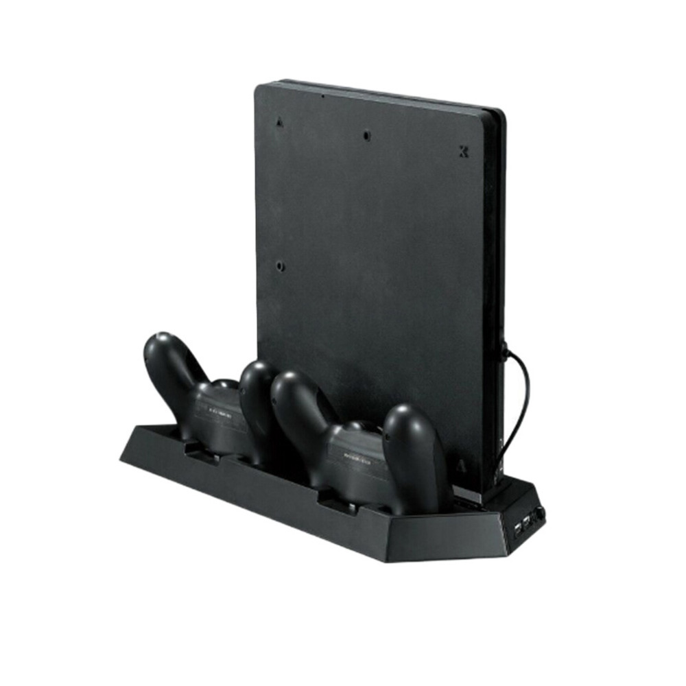 Pour PS4 Mince Console Vertical Jeu Console Stand Dock Avec Double Station De Recharge Mutilfunction De Refroidissement Ventilateur Refroidisseur Vertical Stand