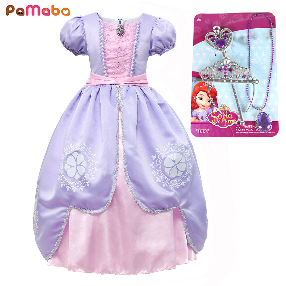 6897a54cfa PaMaBa Child Summer Festival Princess Sofia Cosplay Outfit Girl Halloween  Sofia the First Party Supply Dress with Necklace Crown