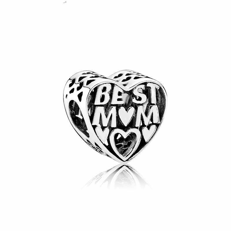 5PCS New Zinc Alloy Antique Silver Charm Best Mom Big Hole Hollow Heart Bead Fit European DIY Pandora Bracelet For Monther Gift