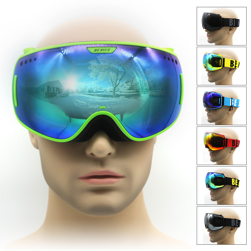 Ski goggles double big lens UV400 anti fog ski mask glasses men women snow goggle snowboard
