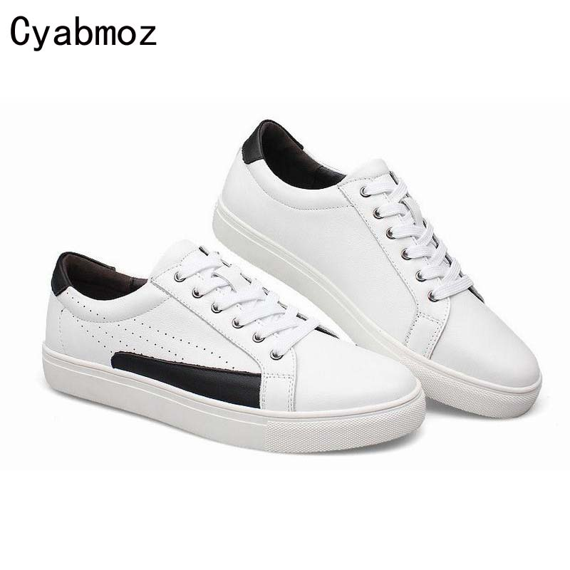 Fashion Big Size 38-49 Genuine Leather Lace up Breathable Men White Casual Shoes Handmade  Sport Walking Chaussures Homme 2017 simple common projects breathable lace up handmade leather shoes casual leather shoes party shoes men winter shoes