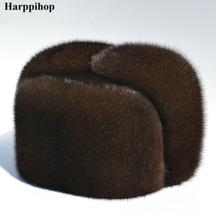 Automne et d'hiver de fourrure de vison occasionnel les personnes âgées chapeau de vison chapeau de fourrure lei feng chapeau pour homme