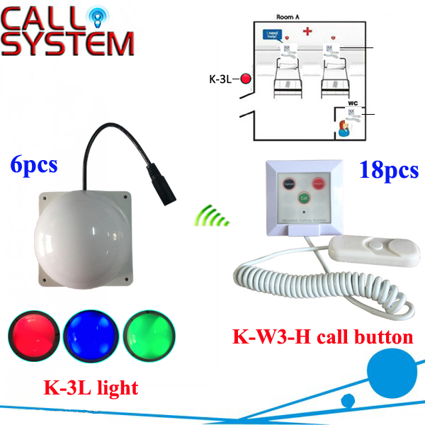Nurse pager calling system 18pcs K-W3-H work with 6pcs K-3L corridor light for hospital service equipment 433mhz wireless service call bell system popular in restaurant ce passed 433 92mhz full equipment watch pager 1 watch 7 call button