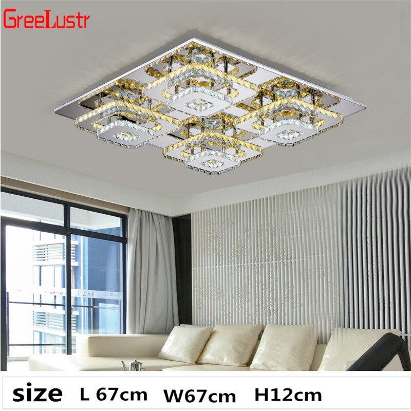 Moderne K9 Kristall Decke Lichter Rechteck Plafonnier Edelstahl LED Lüster für Wohnzimmer Kronleuchter Decke Leuchten