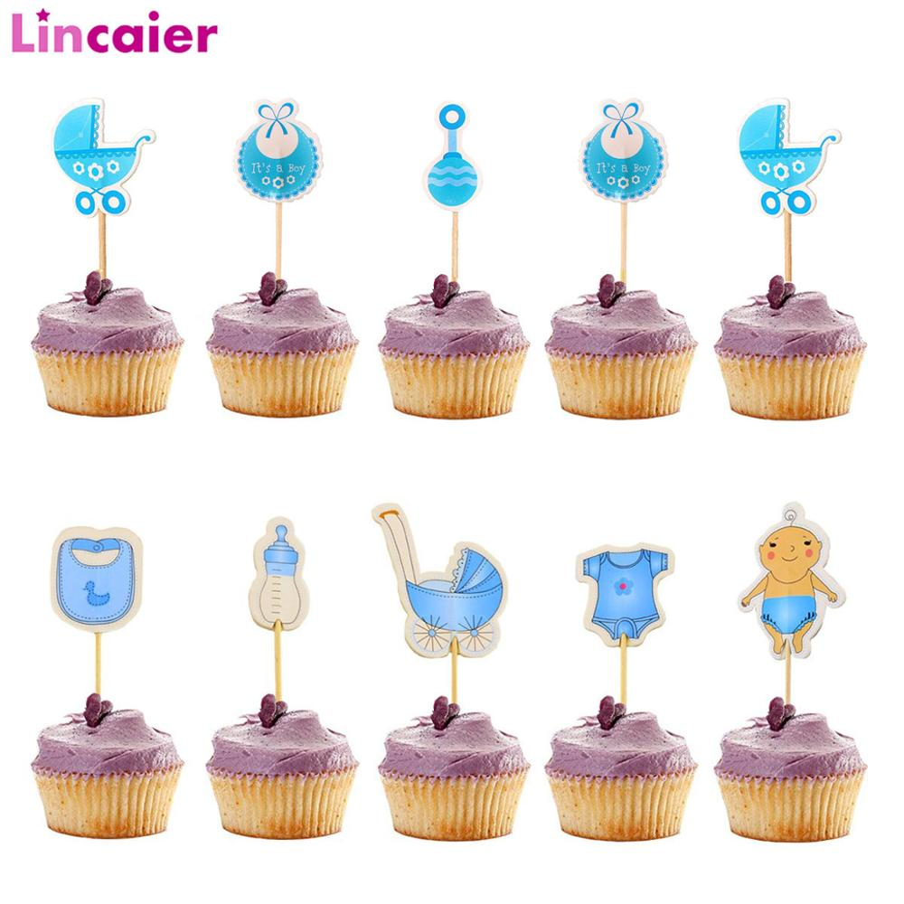 18pcs Blue Pink Cupcake Topper Babyshower Boy Girl Party Decorations Its A Girl Boy Baby Shower Supplies Gender Reveal Birthday