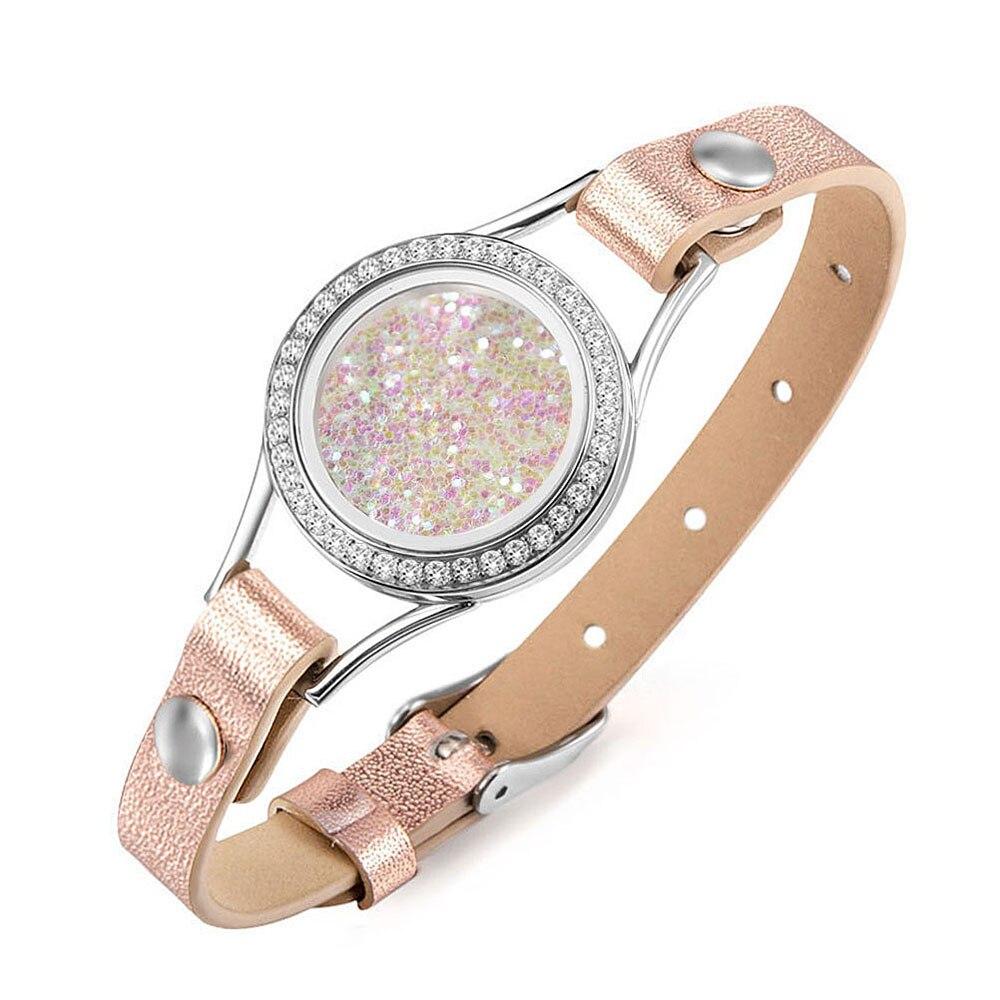 Wrap Floating Charm Bracelets Twist Open Memory Locket Genuine Leather Bracelet Stainless Steel Locket Cuff Bangle no Charms
