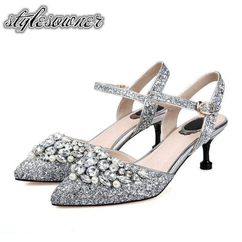 Stylesproprio 2018 Top Design Look mince pompes de beauté chaussures paillettes tissu avec strass talons hauts Sexy chaussures simples pour femme