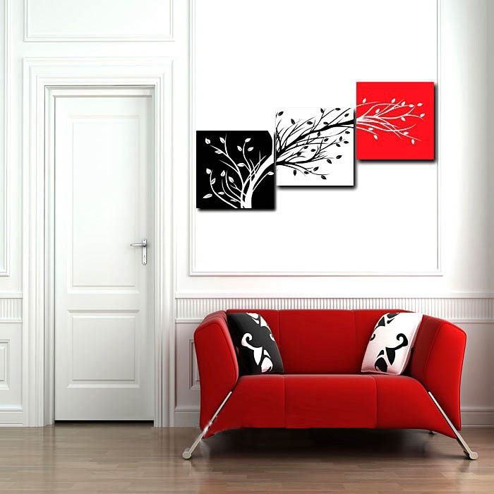 Wall Art Three Color Trees Oil Painting For Home Decor Red Black White Canvas Printing