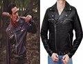 2106 TV Series The Walking Dead Season 7 Nigen Leather Black Turn Down Collar Cosplay Jackets Coats Outwear Halloween Christmas