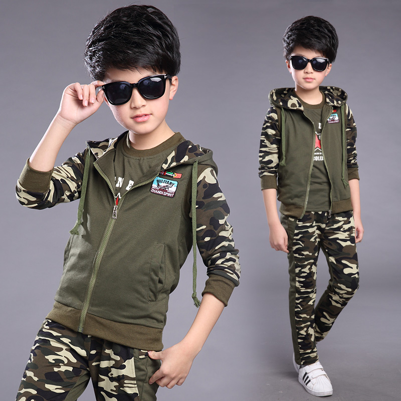 FYH Kids Clothes Boys Spring Autumn Set Teenagers Boys Camouflage Suit 3pc Hooded Vest+T-shirt+Pants Children Sports Suit Sets
