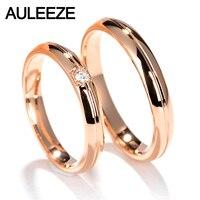 Auleeze SOLID 18 К розовое золото кольцо для пара благородное настоящий бриллиант обручальное Обручение кольцо Свадебные украшения