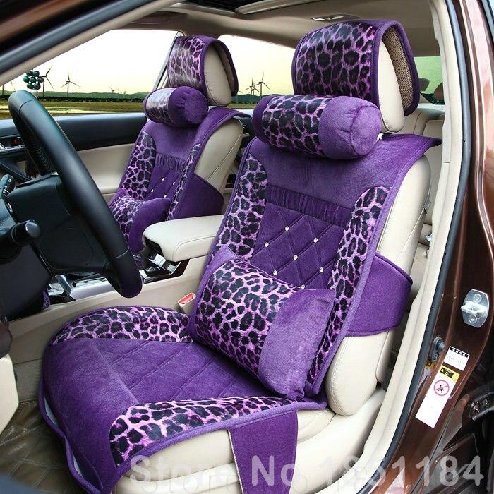 Luxury Stud Crystal Leopard Print Leather Car Seat Cushion Female Diamond Universal Car Seat Covers 10pcs Set - Purple