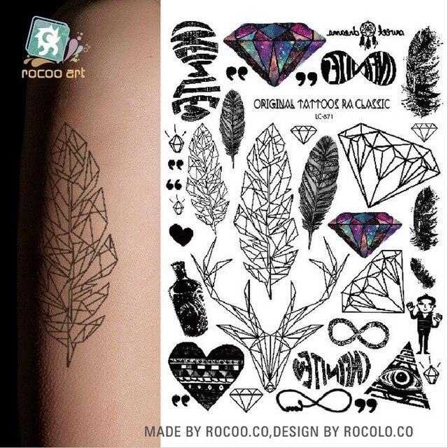 LC-871 Big Black Tatuagem Taty Body Art Temporary Tattoo Stickers Anchor Compass Around The World Glitter Tatoo Sticker