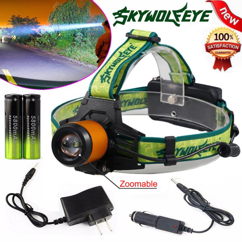 Zoomable 5000Lm USB Headlamp XM-L T6 LED Headlight 18650 Light Charger Battery Rechargeable Outdoor Bike Cycling Lantern 09PJ4