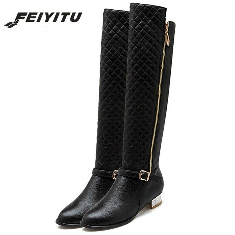 feiyitu 2018 Fashion Women Knee High Boots Black Gold Silver Autumn Winter Long Thigh High Boots Botas Shoes Woman Riding Boots