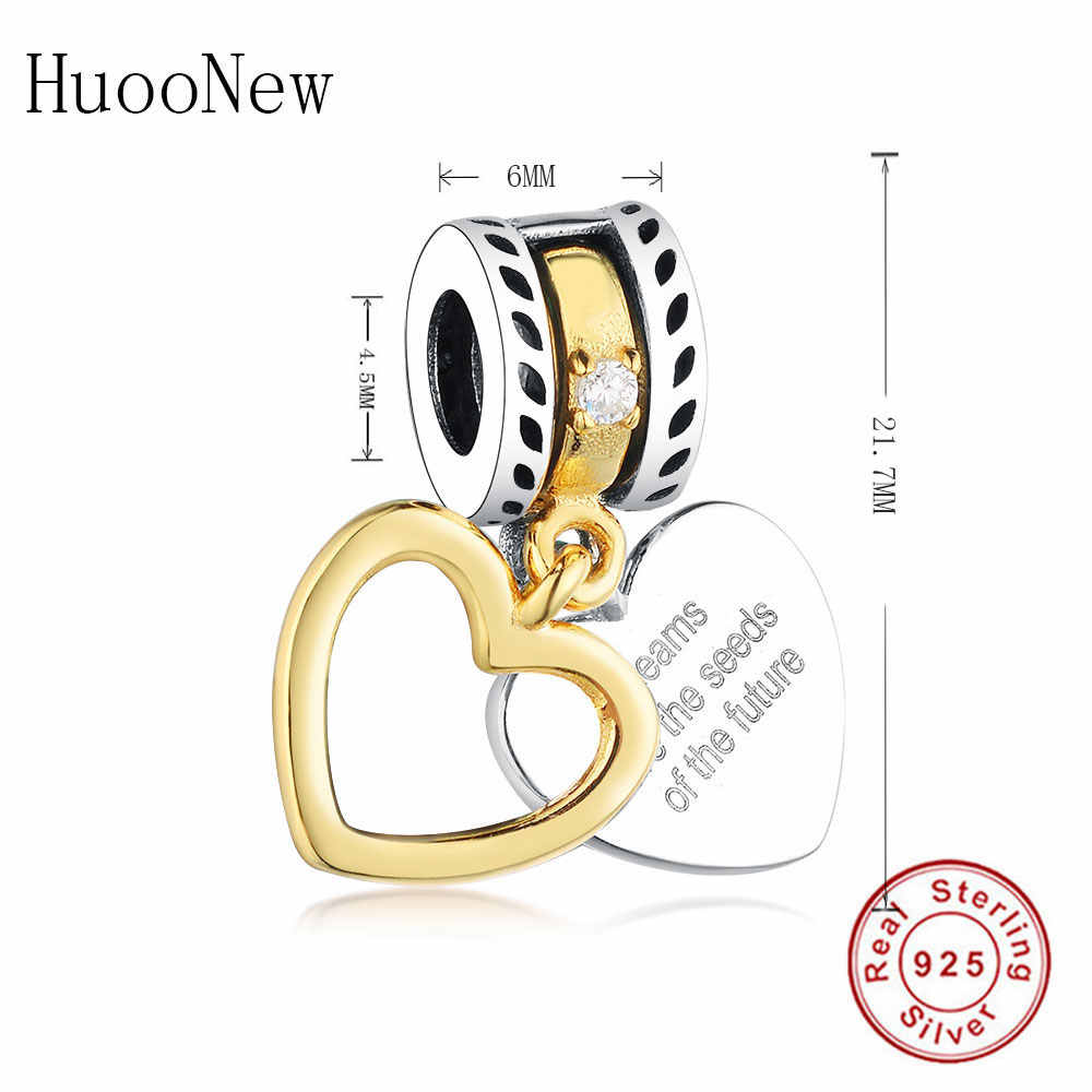 7653467ae Dreams Are The Seeds Of The Future Gold Heart Beads Dangle Fit Original  Pandora Charms Bracelet