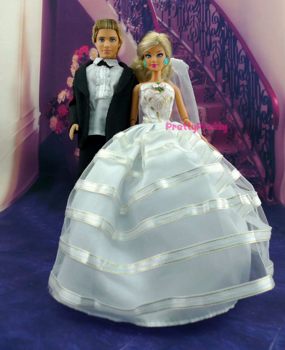 Two Set Doll Clothes Wedding Dress Bridal+Veil & Groom