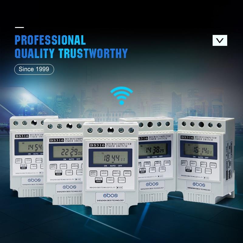 OBOS aparência bonita 220V interruptor do temporizador temporizador semanal digital branco com 10 vezes em/off por dia intervalo definido 1 min-168 H