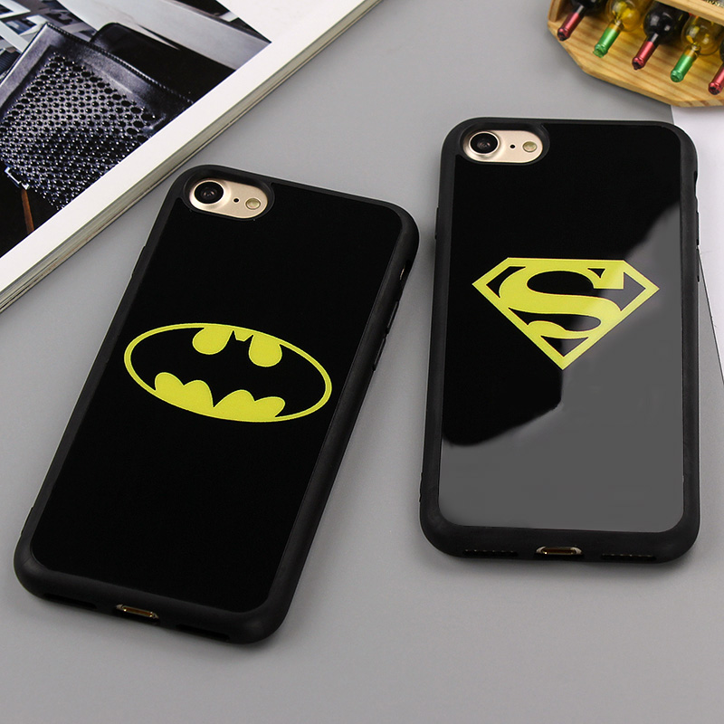 Moda negro espejo del teléfono case para iphone 6 6s sí 5S superman batman funda