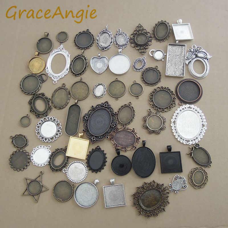 GraceAngie 20 ชิ้น/แพ็คผสมโบราณเงินฐานโลหะผสมสังกะสีอุปกรณ์เสริม DIY เครื่องประดับสำหรับเข็มกลัดหินเครื่องประดับนาฬิกา Photo