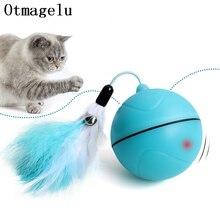 מצחיק חיות מחמד כלב חתול צעצועים Chargable LED גלילת כדורים זוהרים עם נוצת פעמון צליל סיליקון כדורי זריז אימון לתפוס חתול צעצוע