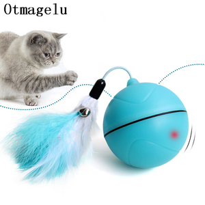 Image 1 - Funny Pet Dog Cat Toys Chargable LED Scrolling Glowing Balls with Feather Bell Sound Silicone Balls Agile training Catch Cat Toy