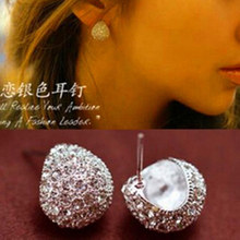 Aros Oorbellen Fashion Elegant Style Sparkling Crystal Plated Stud Earrings For Women Bridal Jewelry Brincos High Quality E41(China)