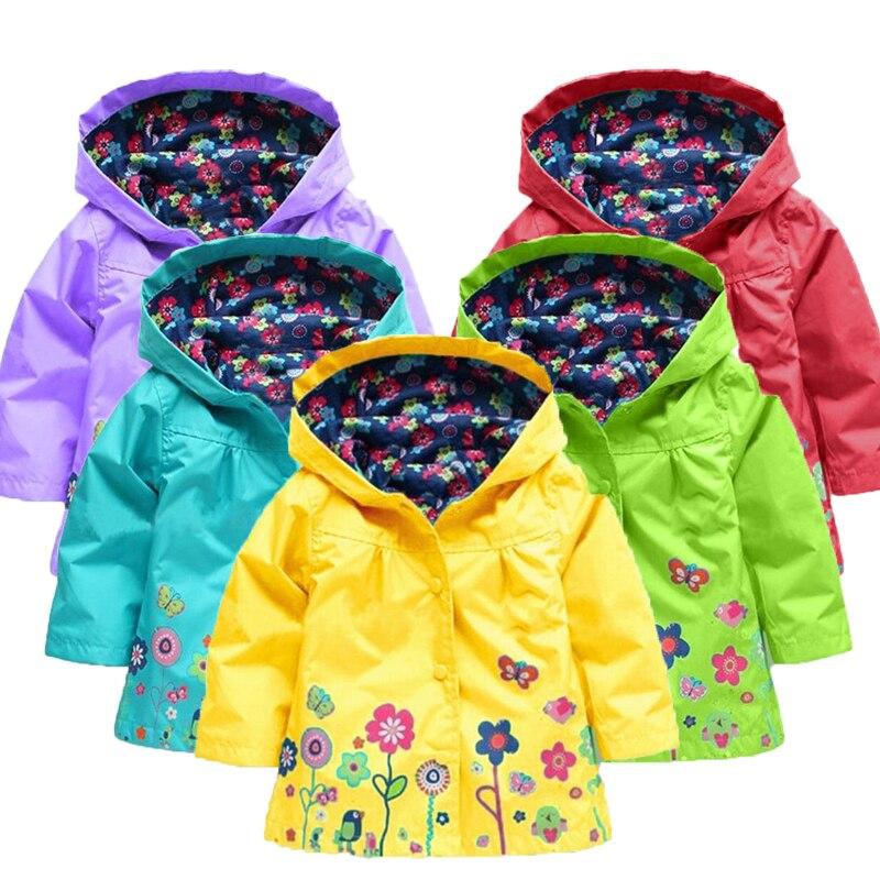 Baby Girls Flower Spring Autumn Jacket Coat Outerwear Children Kids Windbreaker Hoody Toddler Raincoat Clothing Bebes Outwear