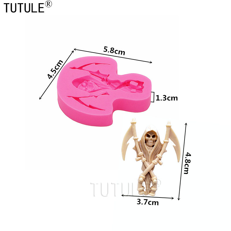 Skull Mold Silicone Scythe Skeleton Cameo Clay Mould Baking Food Chocolate