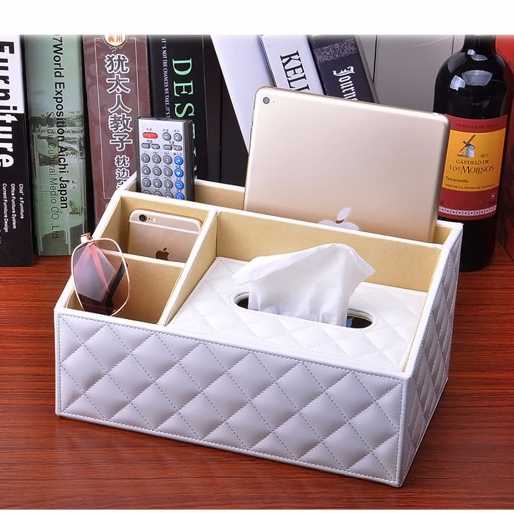 PU Leather Tissue Box Holder Pen Pencil Remote Control Phone For iPad Holder Desk Organizer for Home and Office