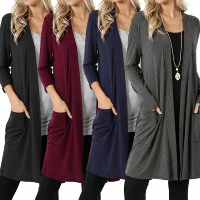Women Loose Casual Long Cardigan Autumn Winter Open Front Cardigan Sweater  Plus Size Long Sleeve Pockets Coat 193cce2f5