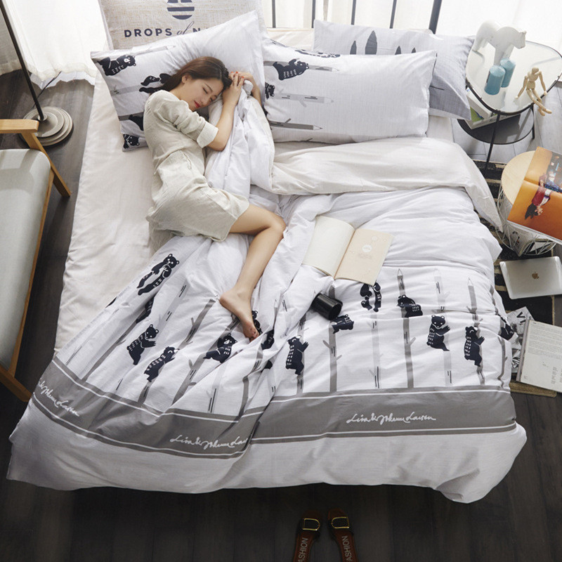 3/ 4pcs Bedding cotton Set white and black duvet cover set European style 100% Cotton set stripe bedding brief freshness linens3/ 4pcs Bedding cotton Set white and black duvet cover set European style 100% Cotton set stripe bedding brief freshness linens