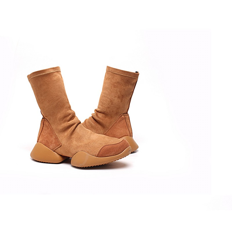 Men Sock Shoes Mid Calf Boots Flock Luxury Trainers Riding Winter Casual Sneakers Lovers Flats Shoes Black Plus Size 45 Boots - 5