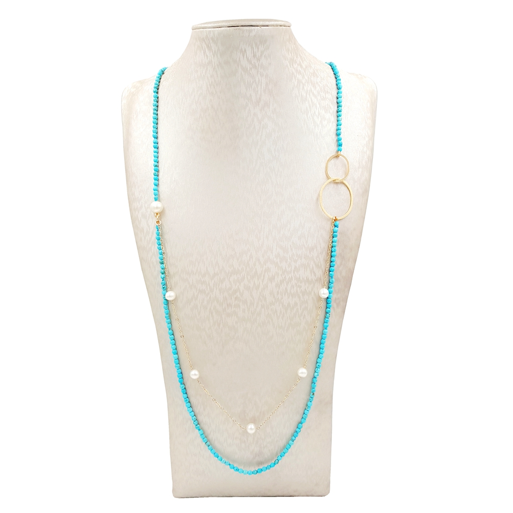 цена на Lii Ji Dye Turquoise Freshwater Pearl 9K Gold Chain 925 Sterling Silver 18K Plated Double Circle Long Necklace Delicate Jewelry