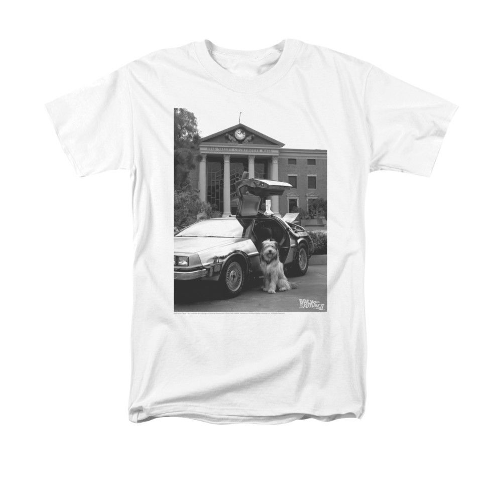 BACK TO THE FUTURE EINSTEIN AND DELOREAN MENS T SHIRT SMALL TO 5XL