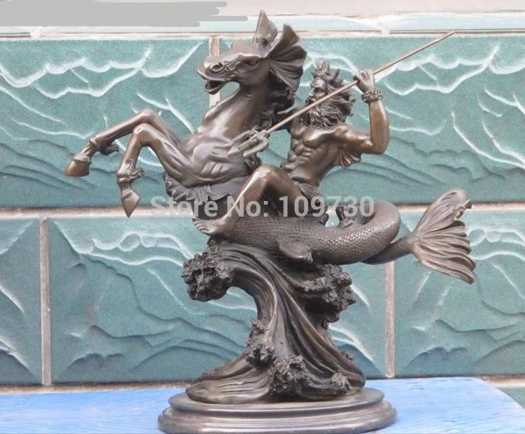 bir 002858 18Greek myth Bronze Marble Sea Emperor Poseidon Ride Sea Horse Mermaid Statue