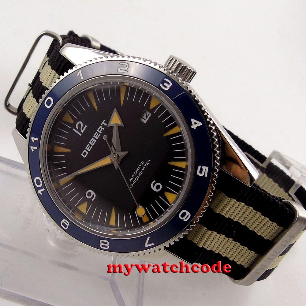41mm debert black dial 21 jewels miyota blue bezel Automatic mens Watch D40C debert 41mm blue dial ceramic bezel leather strap miyota automatic mens watch