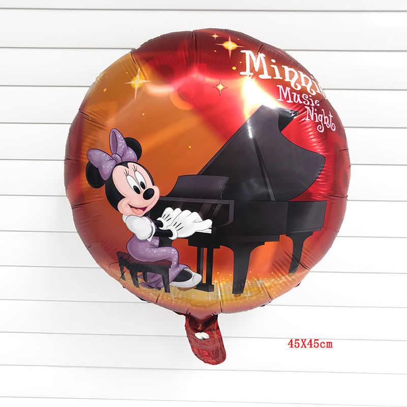 1PC 18 pollici Minnie mouse suona il pianoforte rotonda palloncino palloncino di Elio Foil Palloncini buon compleanno decorazioni festa per bambini forniture giocattolo