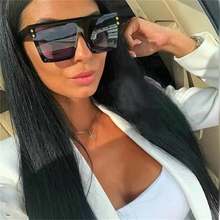 New large retro square sunglasses women's brand 2019 flat