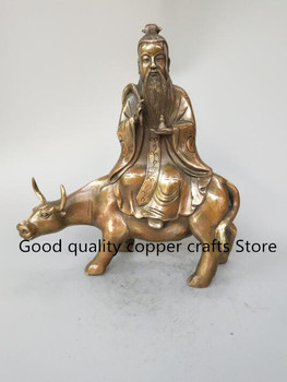 China Taoism founder Lao tze to ride cow brass statue