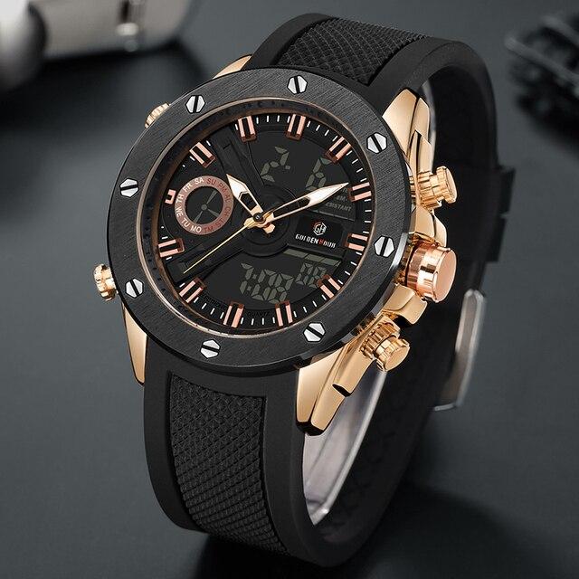 Men Watch Luxury Brand OLDENHOUR Fashion Analog Digital Sports Mens Watches Waterproof Silicone Quartz Watch Relogio Masculino 2
